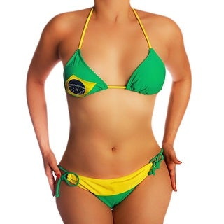 Brazil Green / Yellow Brazilian Flag String Bikini Junior Sizes