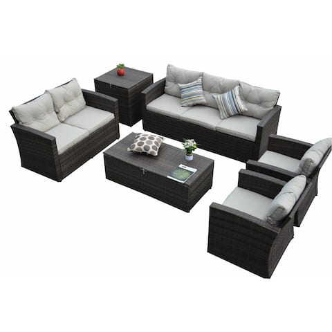 Mia 6 Piece Outdoor Patio Sofa Seating Group with Cushions