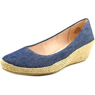 Easy Spirit Dellina Women Open Toe Canvas Wedge Heel