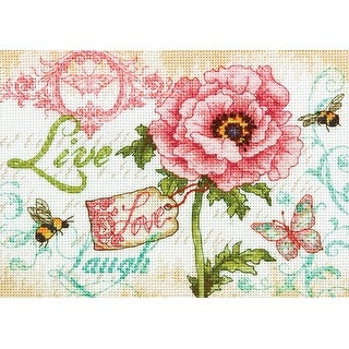 """Gold Petite Live, Laugh, Love Counted Cross Stitch Kit-7""""X5"""" 18 Count"""