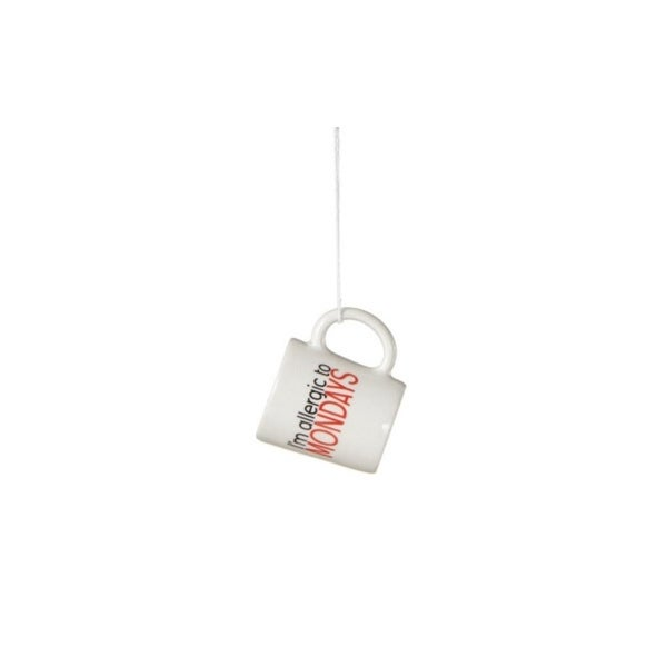 "Black, Red and White ""I'm allergic to Mondays"" Workplace Humor Mug Christmas Ornament 2.25"""