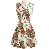 Fashion Quality Sleeveless Above-knee Full Flower Tiny Dress