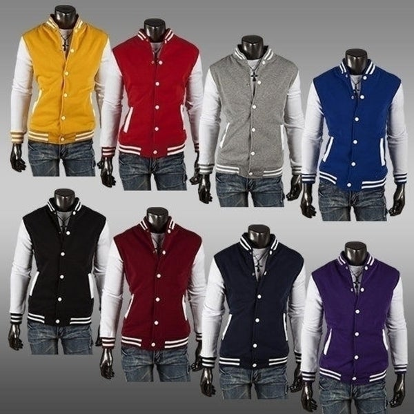 Mens Eight-color Baseball Jacket Cardigan Sweater Slim Short Paragraph