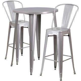Brimmes 3pcs Round 30'' Silver Metal Table w/2 Cafe Barstool