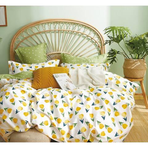 Leonie Yellow Tulip 100% Cotton Reversible Duvet Cover Set