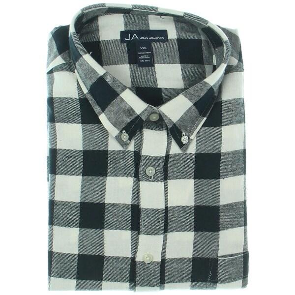 John Ashford Mens Button-Down Shirt Flannel Buffalo Check