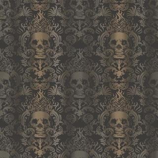 Brewster TOT47111 Luther Sand Skull Modern Damask Wallpaper