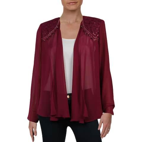 SLNY Womens Jacket Mesh Embellished