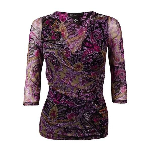 INC International Concepts Women's Ruched Print Mesh Blouse - Purple