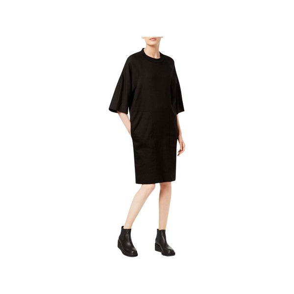 7681ddcaeffe Shop Pure DKNY Womens Shirtdress Linen Blend Mixed Media - Free Shipping  Today - Overstock - 21279573