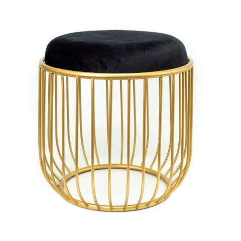 Modern Gold Cage Ottoman with Black Velvet Top