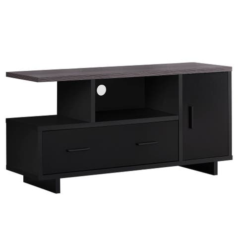 """Offex 48""""L Contemporary Grey Top TV Stand with 2 Open Cubbies - Black - 47.25""""x 15.5""""x 23.75"""" - 47.25""""x 15.5""""x 23.75"""""""