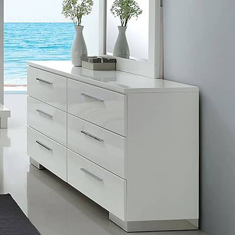 Furniture of America Ballingham Contemporary Glossy White 6-drawer Dresser