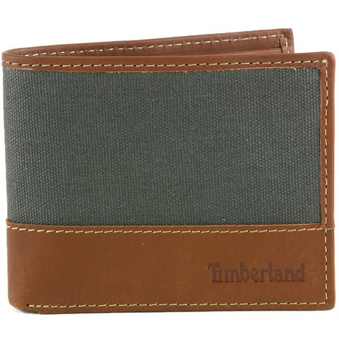 Timberland Mens Canvas & Leather Trim Bifold Passcase Wallet