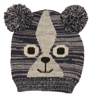 Gold Medal Boys Navy Grey Animal Face Double Pom-Pom Accent Knit Beanie Hat
