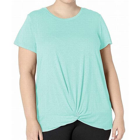 Marc York Women's Top Blouse Blue Large L Knit Tee Twisted T-Shirt