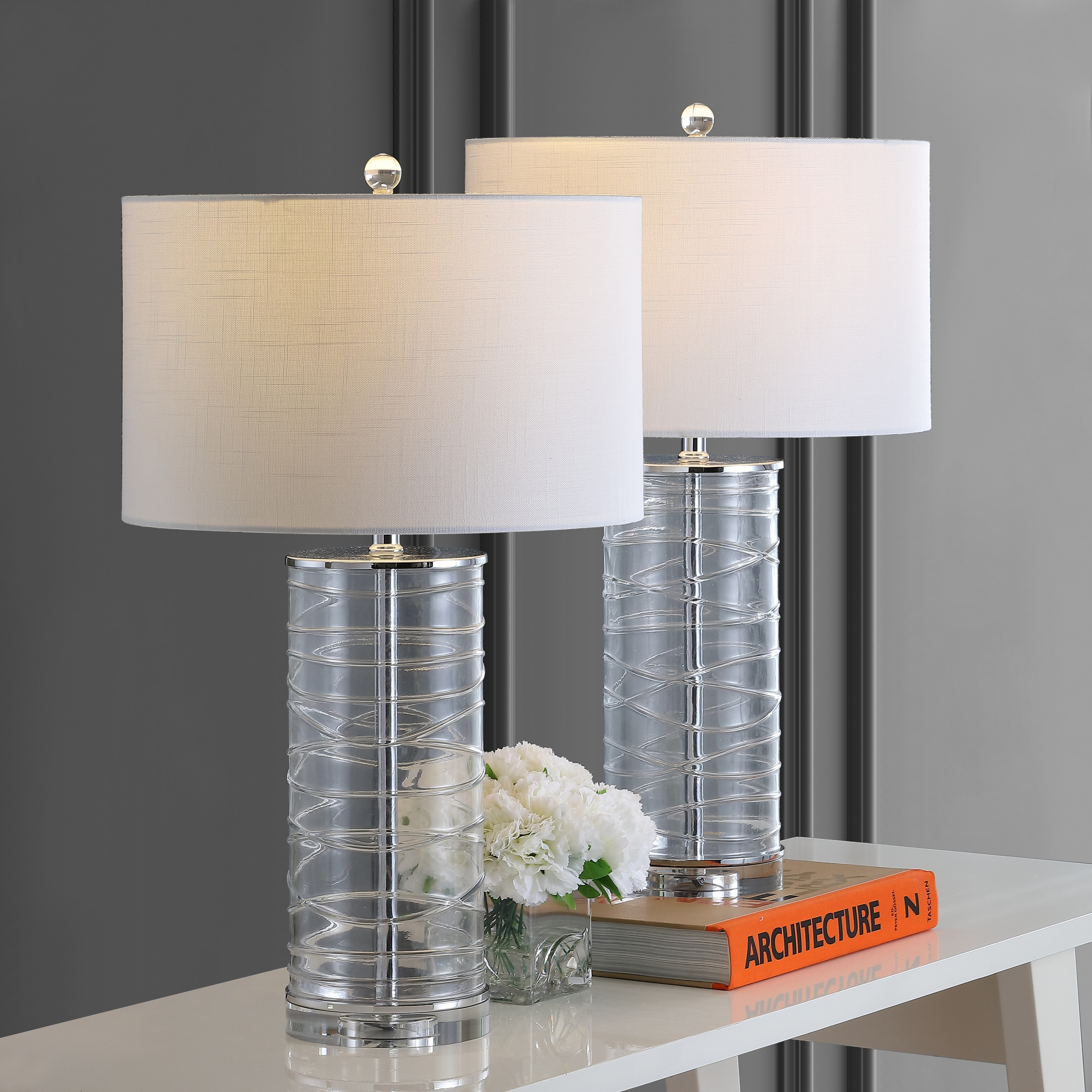 Picture of: Shop Cole 27 5 Modern Fused Glass Cylinder Led Table Lamp Clear Set Of 2 By Jonathan Y On Sale Overstock 28263240
