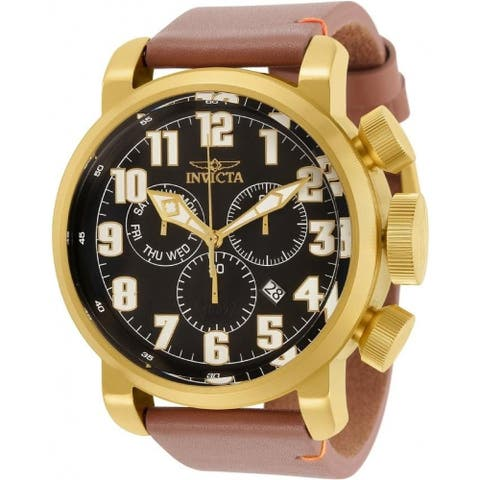Invicta Men's 31683 'Aviator' Brown Leather Watch