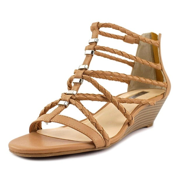 INC International Concepts Akera Women Open Toe Synthetic Tan Wedge Sandal