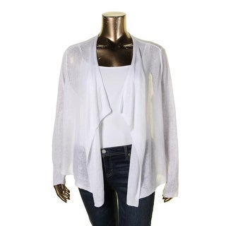 Eileen Fisher Womens Cardigan Top Open Stitch Draped Front