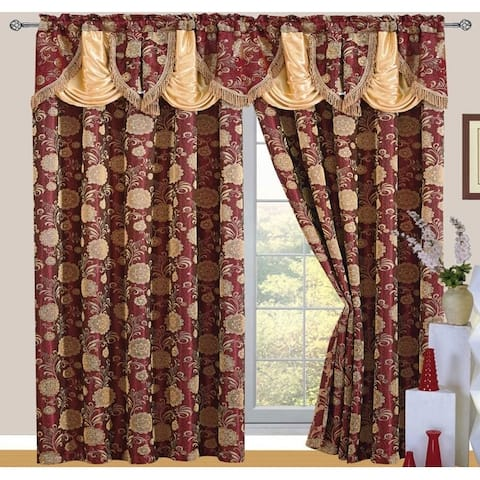 Daniella Jacquard Rod Pocket Panel with Attached Valance and Backing, 55x84+18 Inches, 2-Pack