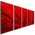 Statements2000 Red 5 Panel Contemporary Metal Wall Art by Jon Allen - Red Plumage - Thumbnail 0
