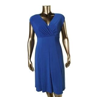 Lauren Ralph Lauren Womens Plus Casual Dress Padded Shoulders Ruched