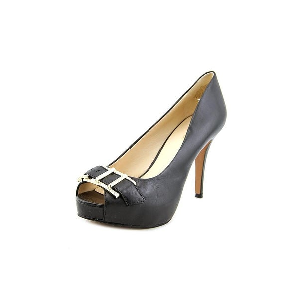 Nine West Celestine Women Open-Toe Leather Black Heels