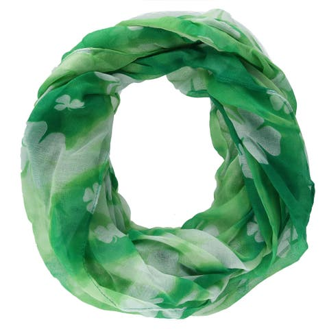 David & Young Women's St. Patricks Day Shamrock and Tie-Dye Infinity Loop Scarf - one size