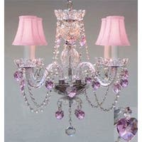 Chandelier Lighting With Crystal Pink Shades &*Hearts* Perfect For Kid's Rooms