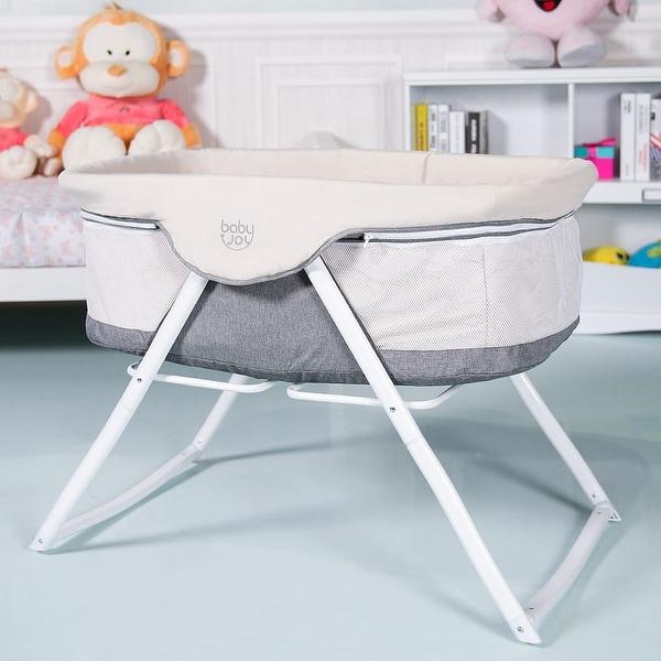 BabyJoy Foldaway Baby Bassinet Crib Newborn Rocking Sleeper Traveler Portable /Bag Gray - Grey