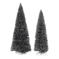 "Department 56 Snow Village ""Jumbo Frosted Sisal Trees"" 2-Piece Accessory Set #4038839 - green"