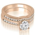 1.19 cttw. 14K Rose Gold Cathedral Channel Set Round Diamond Bridal Set - Thumbnail 0