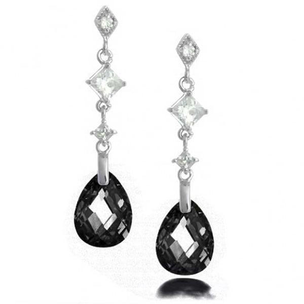 Bling Jewelry Sterling Silver Faceted Black Cz Teardrop Earrings