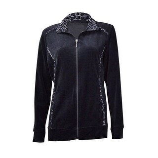 Style & Co. Women's Animal-Trim Velour Zip Jacket - Deep Black - pxl