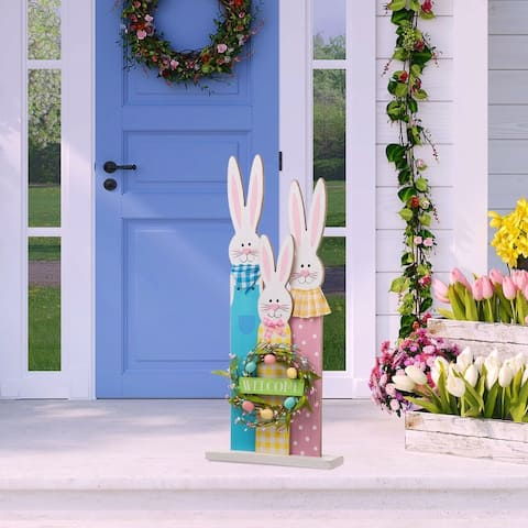 """Glitzhome 30""""H Easter Wooden Bunny Family Standing Decor"""