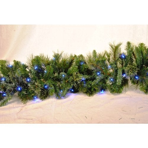 Christmas at Winterland WL-GARBM-09-LBL 9 Foot Pre-Lit Blue LED Blended Pine Gar