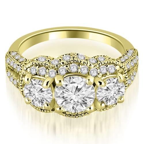 1.75 cttw. 14K Yellow Gold Milgrain 3-Stone Round Cut Diamond Engagement Ring