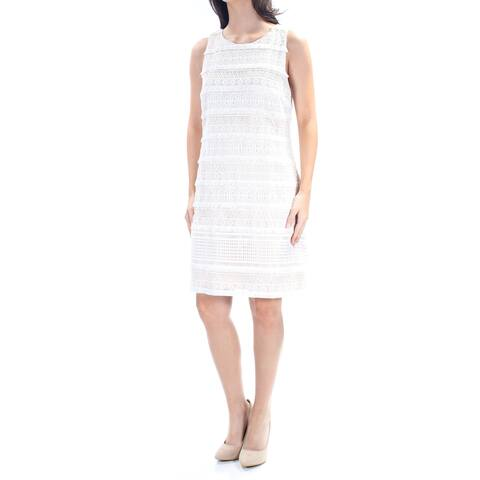 a79da88a41 ANNE KLEIN Womens Ivory Lace Sleeveless Jewel Neck Above The Knee Shift  Cocktail Dress Size