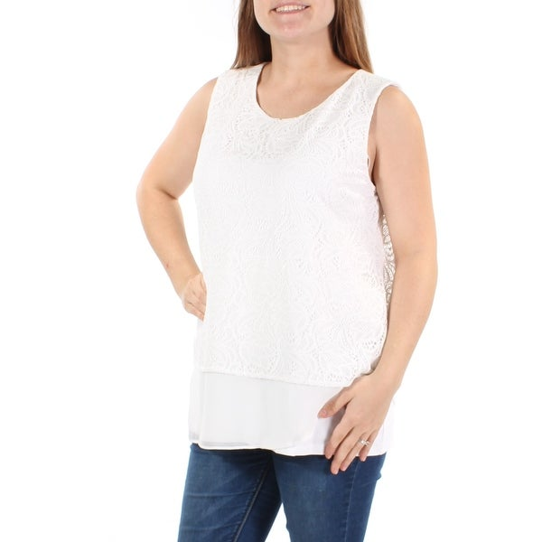 9ba18fae5ed59 Shop CALVIN KLEIN Womens White Lace Sleeveless Jewel Neck Top Size  S - On  Sale - Free Shipping On Orders Over  45 - Overstock - 21350764