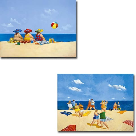 Tango Beach & Three Ladies Sunning by Paraskevas 2-pc Gallery Wrapped Canvas Giclee Set (12 in x 16 in Each Canvas in Set)