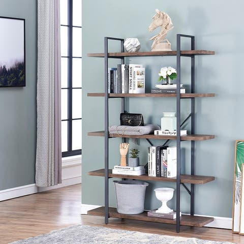 5-Shelf Vintage Industrial Style Bookcase, Rustic Farmhouse Storage Shelves with Metal Frame