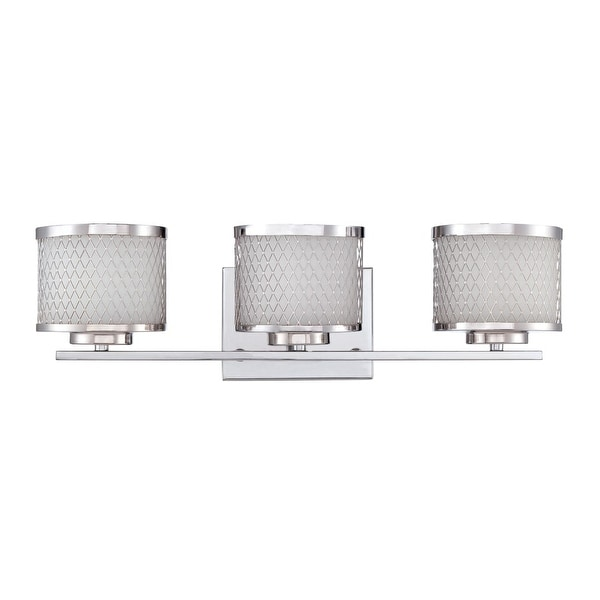 """Jeremiah Lighting 166213 Euclid 3-Light Vanity Light with Wire Outer Shades - 21"""" Wide - Chrome"""