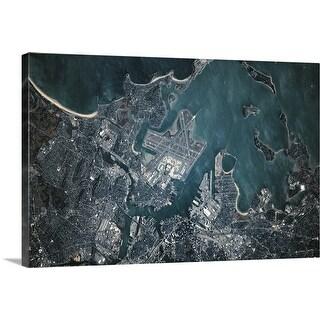 """Satellite view of Boston, Massachusetts"" Canvas Wall Art"