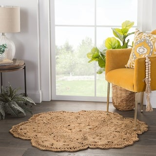Osian Natural Floral Round Area Rug