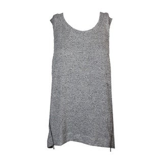 Rachel Rachel Roy Grey Space-Dye High-Low Zip-Detail Tank Top XXL