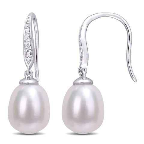 Miadora Sterling Silver Cultured Freshwater Pearl and Diamond Accent Drop Earrings (8.5-9mm)