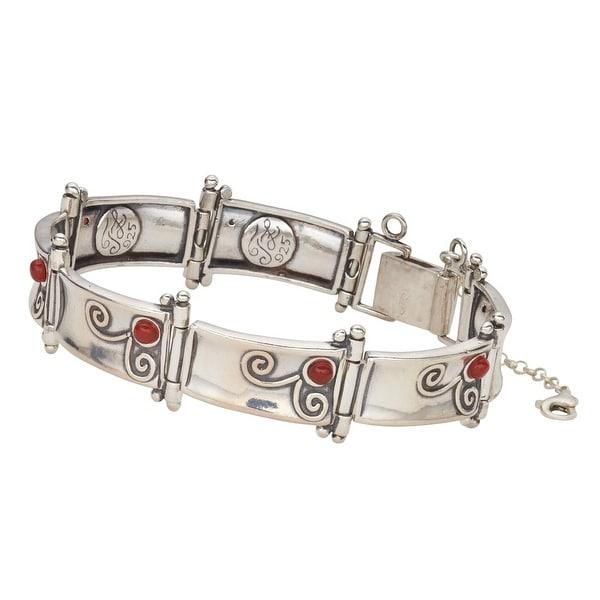 Women's Bardot Sterling Silver and Carnelians Link Bracelet