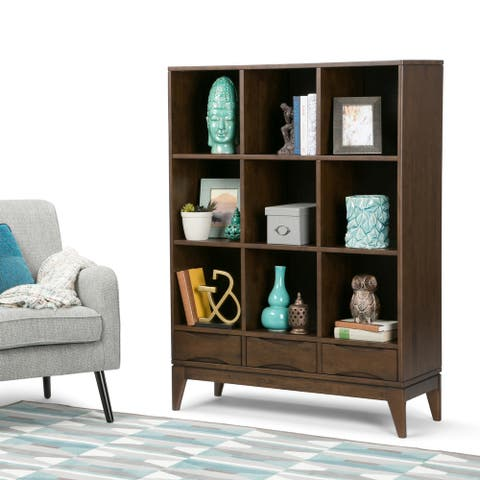 WYNDENHALL Pearson SOLID HARDWOOD 58 inch x 42 inch Mid Century Modern Cube Storage Bookcase with Drawers in Walnut Brown