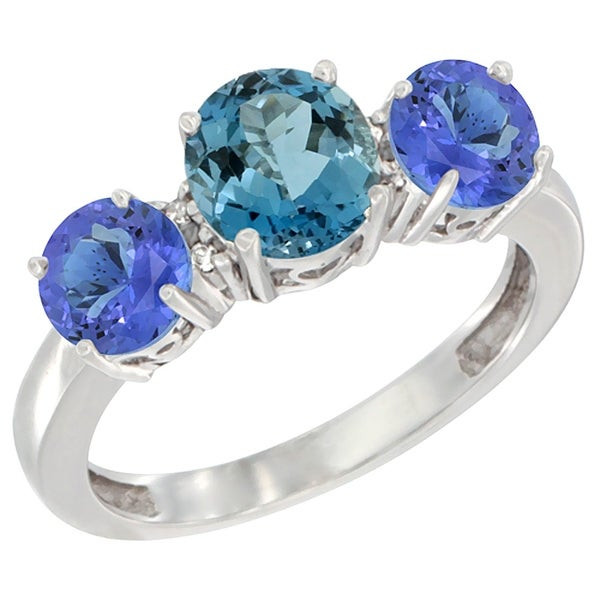 Natural Blue Topaz And Diamond Ring
